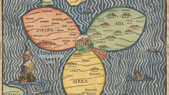 Bilde av et gammelt kart som viser Jerusalem i midten av verden