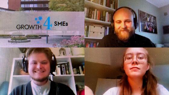 Montasje av fire bilder. Øverst til venstre er logo for Growth4SMES over et bilde av Niels Treschows hus. Øverst til høyre, og nederst følger skjermbilder av tre studenter som har deltatt.