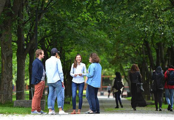 Seks studenter står i sirkel og snakker blidt sammen i en park med trær. Foto.