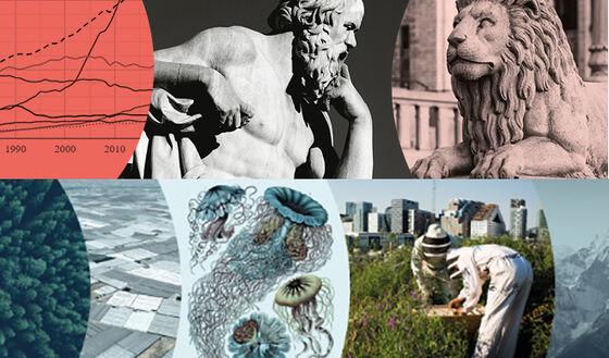 Collage av illustrasjoner av grafer, antikk spultur, birøktere, skog med mer
