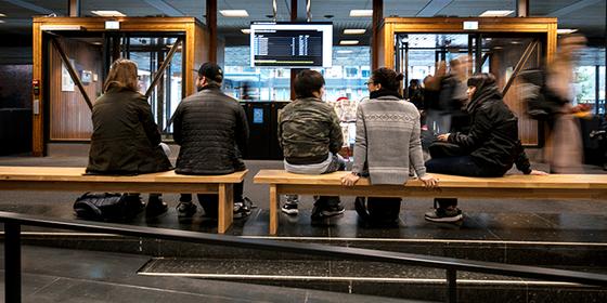 Fem studenter sitter med ryggen til på en benk inne i en universitetsbygning.